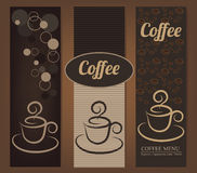 Vintage Coffee banners. Elegant Coffee banners with coffee cups Stock Photo