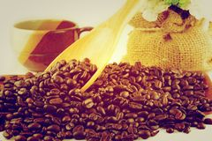 Vintage Coffee beans background wake up Stock Photography