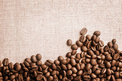 Vintage Coffee Beans Banner. Close uo photograph of some fresh coffee beans Stock Photo