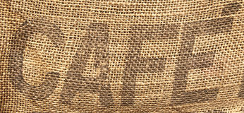 Vintage coffee beans sack. With word CAFE in center stock photography