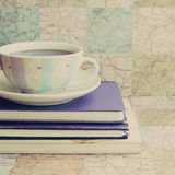 Vintage Coffee And Books Stock Photos