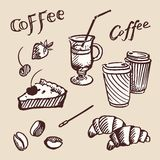 Vintage coffee, croissants and fruit. Vector Stock Photos