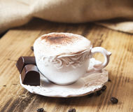 Vintage Coffee Cup with Cappuccino and Whipped Cream Stock Photos