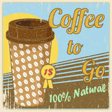 Vintage coffee cup poster. Coffee cup on old paper texture. Vector background template for cafe bar or restaurant Stock Photography