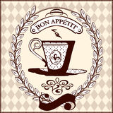 Vintage coffee cup. Retro banner with a vintage cup of coffee in laurel wreath royalty free illustration