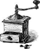 Vintage coffee grinder stock illustration