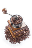 vintage coffee grinder with coffee beans Stock Image