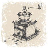 vintage coffee grinder, grunge frame, monochrome.vector ilustration Royalty Free Stock Photo