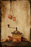 Vintage coffee grinder. Textured picture of vintage coffee grinder with autumn leaves and dried roses. Grungy style Royalty Free Stock Images