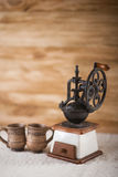 Vintage coffee grinder turkish. And cup Royalty Free Stock Image