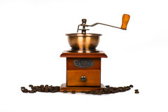 Vintage coffee grinder on white Stock Images