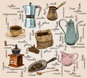 Vintage coffee handdrawn set Stock Image