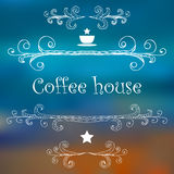 Vintage Coffee House card with monograms and lettering. Stock Photography
