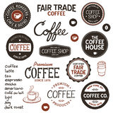 Vintage coffee labels and lettering. Set of retro and drawn coffee badges and elements Royalty Free Stock Photos