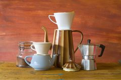 Vintage coffee making. Retro style food and drink stock photography