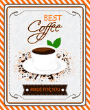 Vintage coffee menu poster design with cup of coffee and grunge effect Royalty Free Stock Photo