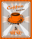 Vintage coffee menu poster design with cup of coffee and grunge effect Royalty Free Stock Images