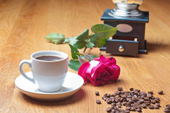 Vintage coffee mill, cup and rose Stock Image