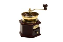 Vintage coffee mill on white background Stock Images