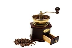 Vintage coffee mill on white background Royalty Free Stock Image