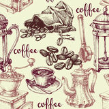 Vintage coffee pattern. Coffee and coffee related objects seamless pattern Royalty Free Stock Images