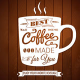 Vintage coffee poster on a dark wooden background. Royalty Free Stock Images