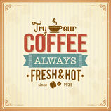 Vintage coffee poster with grunge effects Stock Photos