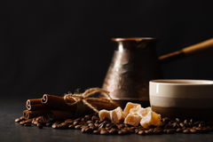 Vintage coffee pot and spoon, beans scattered around, with copys Stock Image