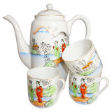Vintage coffee pot and three cups Stock Photos