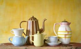 Vintage coffee pots Stock Photos