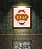 Vintage Coffee restaurant poster in frame old interior Stock Photography