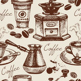 Vintage coffee seamless pattern Stock Images
