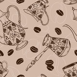 Vintage coffee seamless pattern Stock Photography