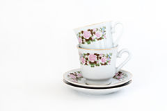 Vintage coffee set with floral decoration isolated Royalty Free Stock Photography