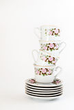vintage coffee set with floral decoration isolated Stock Photos