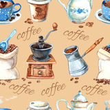 Vintage coffee set items seamless pattern. Decorative vintage style hand drawn watercolor coffee set items with cezve and grinder seamless pattern vector Stock Image
