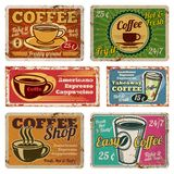 Vintage coffee shop and cafe metal vector signs in old 1940s style. Vintage coffee poster grunge, banner with hot coffee illustration royalty free illustration