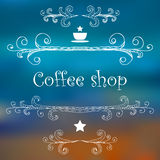 Vintage Coffee Shop card with monograms and lettering. Royalty Free Stock Image