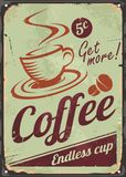 Vintage coffee sign on old metal background Stock Photos