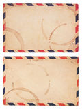 Vintage, Coffee-Stained Airmail Envelope Stock Photo
