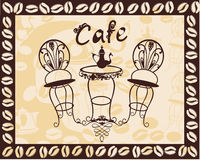 Vintage coffee table and chairs for the cafe sign Stock Images