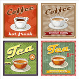 Vintage coffee and tea poster. Royalty Free Stock Images