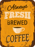 Vintage Coffee Tin Sign. Rusty vintage metal sign with coffee Stock Image