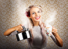 Vintage Coffee Woman Holding Hot Tea Pot Royalty Free Stock Image