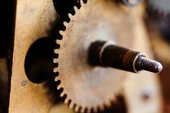 Vintage cog wheel gear teeth macro view. Shallow depth field, selective focus. Vintage cog wheel gear teeth macro view. Shallow depth field, selective focus Royalty Free Stock Photography