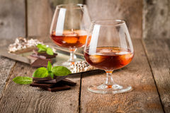 Vintage cognac still life with chocolate Royalty Free Stock Images