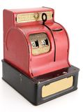 Vintage Coin Bank. Vintage red mechanical nickel dime quarter bank royalty free stock photography