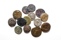 Vintage  coins with portraits on a white background Royalty Free Stock Photo