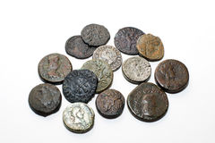 Vintage  coins with portraits on a white background Stock Image