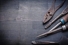 Vintage cold chisel rasp screwdriver pliers Stock Images